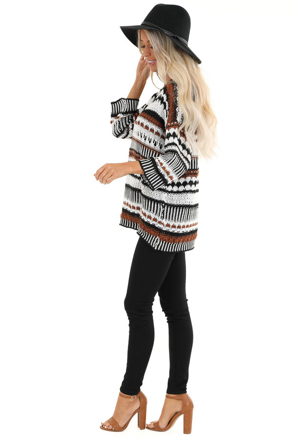 Walnut and Ivory Crochet Sweater with 3/4 Length Sleeves side full body