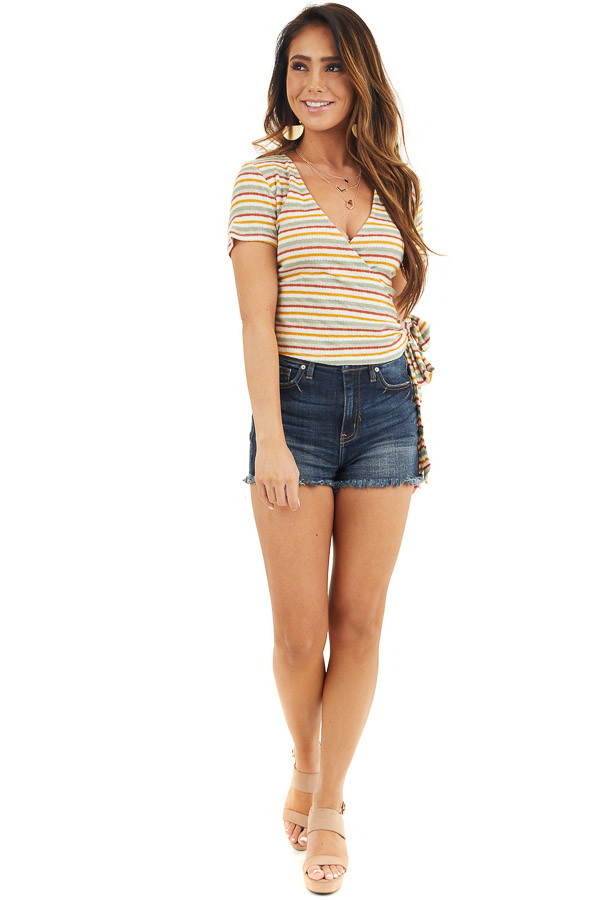 Cream Multicolor Striped Textured Knit Top with Side Tie front full body