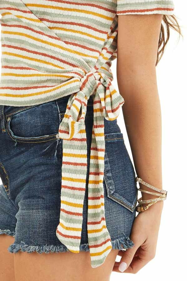 Cream Multicolor Striped Textured Knit Top with Side Tie detail