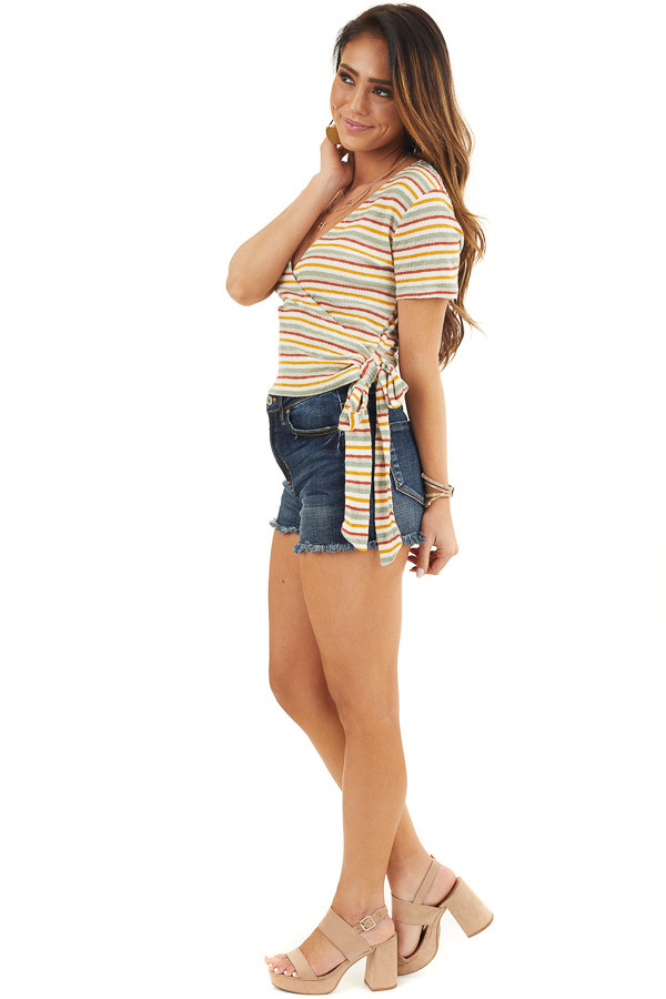 Cream Multicolor Striped Textured Knit Top with Side Tie side full body