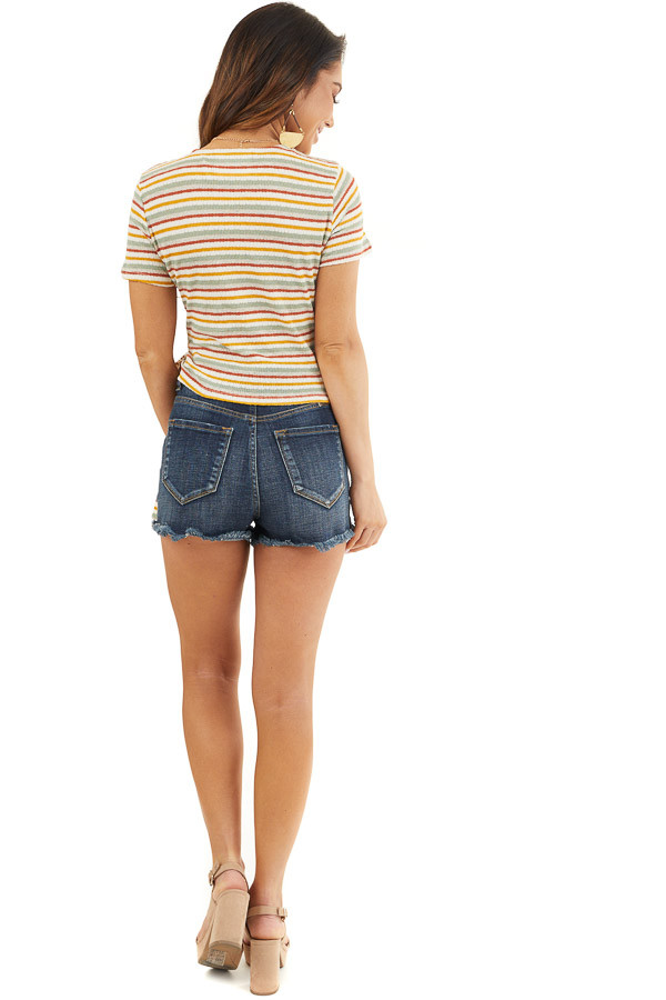 Cream Multicolor Striped Textured Knit Top with Side Tie back full body