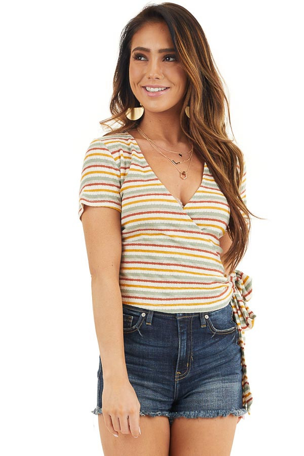 Cream Multicolor Striped Textured Knit Top with Side Tie front close up