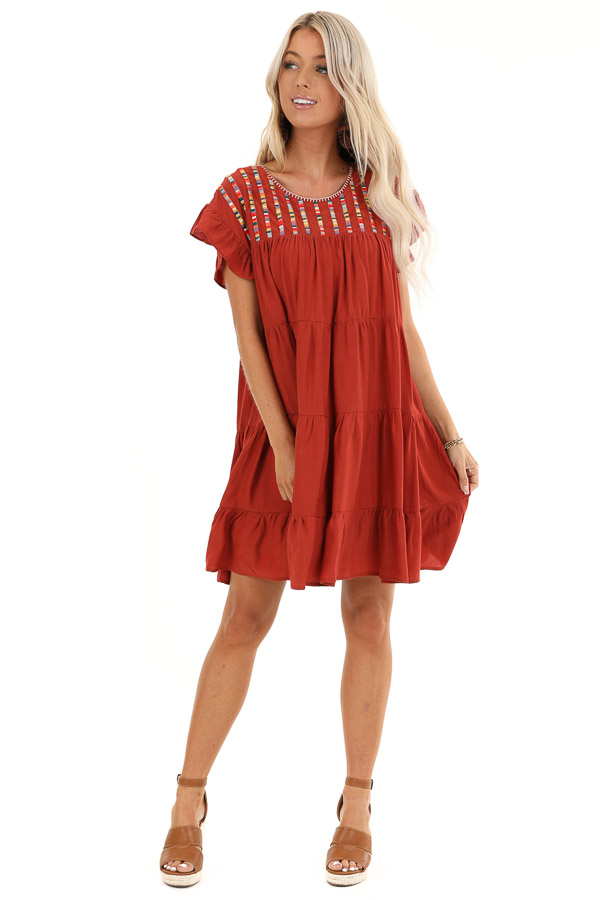 Rust Tiered Short Sleeve Mini Dress with Embroidered Detail front full body