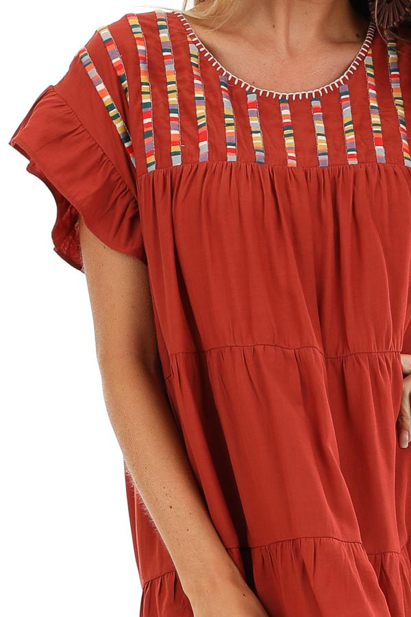 Rust Tiered Short Sleeve Mini Dress with Embroidered Detail detail