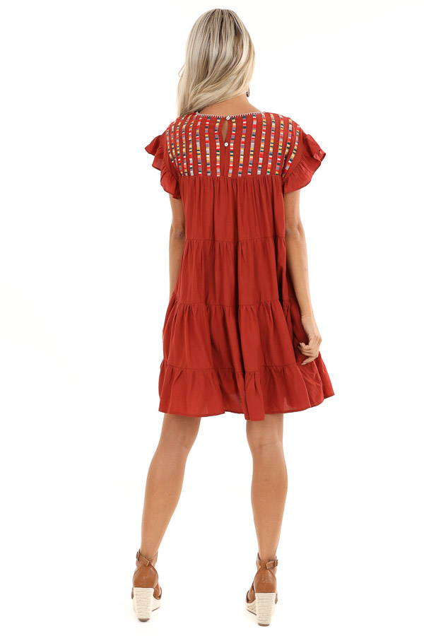 Rust Tiered Short Sleeve Mini Dress with Embroidered Detail back full body