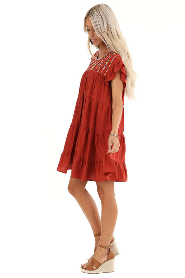 Rust Tiered Short Sleeve Mini Dress with Embroidered Detail side full body