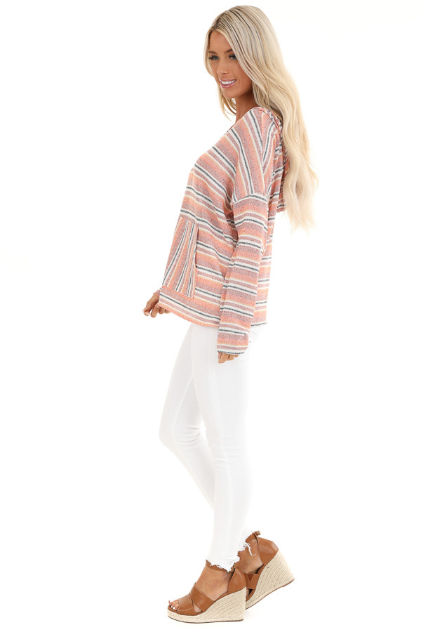 Faded Orange and Brick Striped Hooded Top with Front Pocket side full body