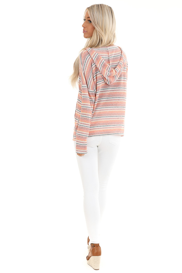 Faded Orange and Brick Striped Hooded Top with Front Pocket back full body