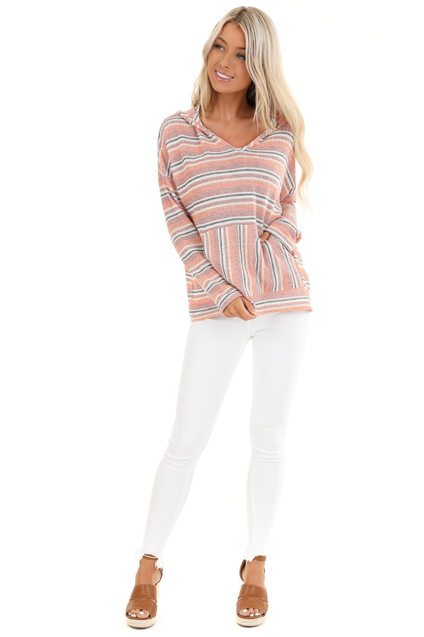 Faded Orange and Brick Striped Hooded Top with Front Pocket front full body