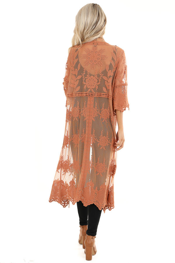 Pumpkin Spice Long Sheer Floral Lace Kimono with Open Front back full body