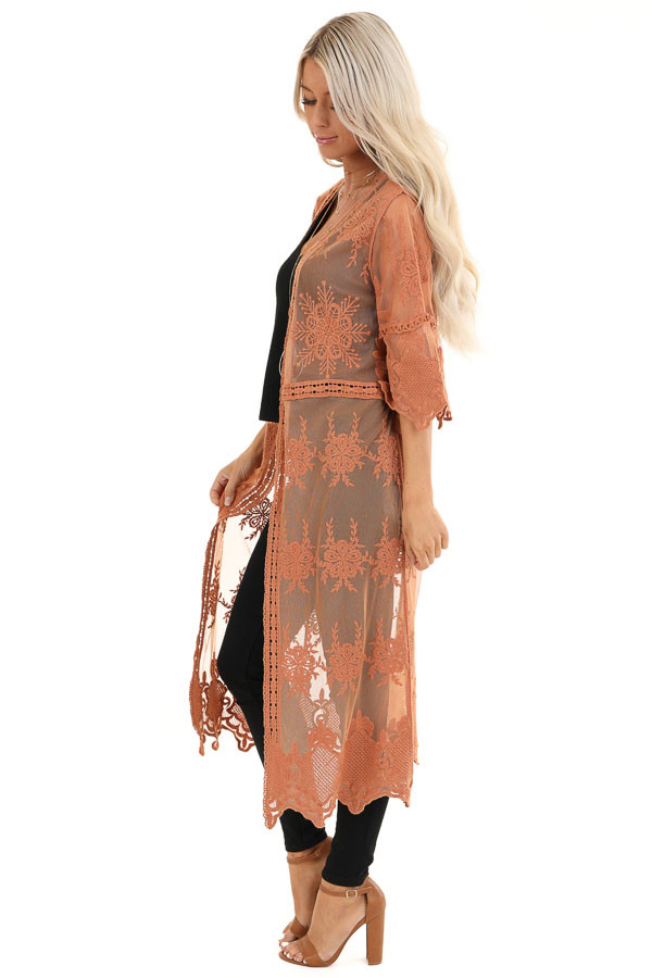 Pumpkin Spice Long Sheer Floral Lace Kimono with Open Front side full body