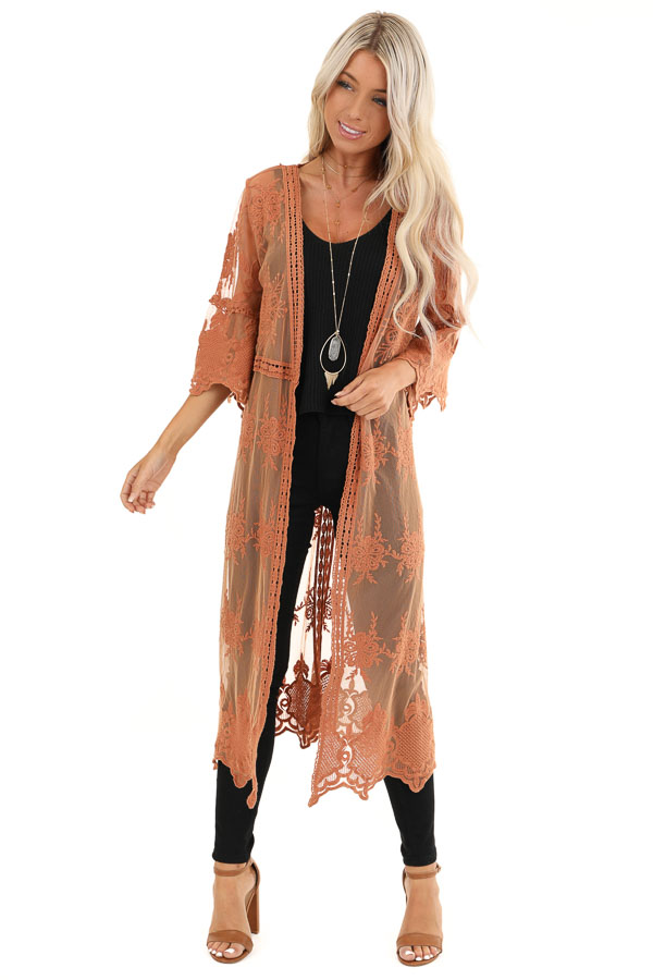 Pumpkin Spice Long Sheer Floral Lace Kimono with Open Front front full body