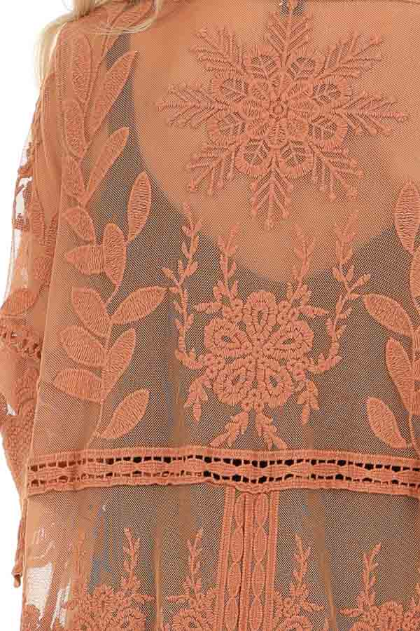 Pumpkin Spice Long Sheer Floral Lace Kimono with Open Front detail