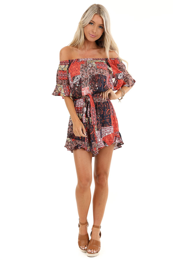 Multi Color Patchwork Print Off Shoulder Romper front full body