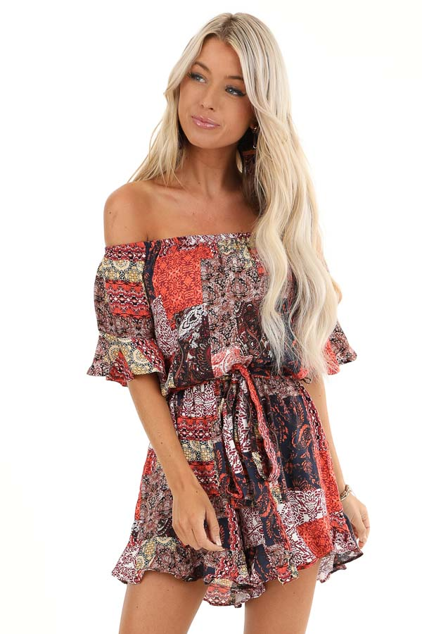 Multi Color Patchwork Print Off Shoulder Romper front close up