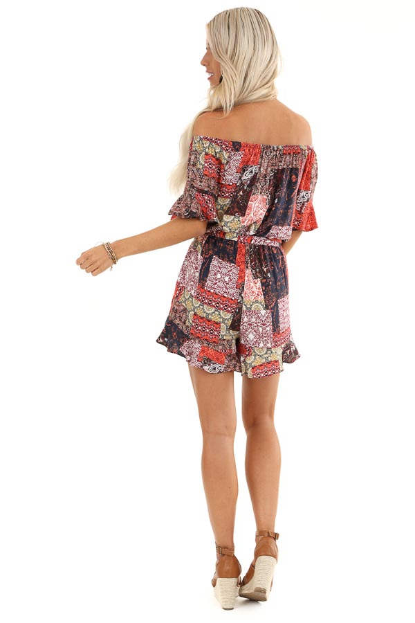 Multi Color Patchwork Print Off Shoulder Romper back full body