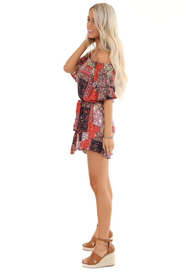 Multi Color Patchwork Print Off Shoulder Romper side full body