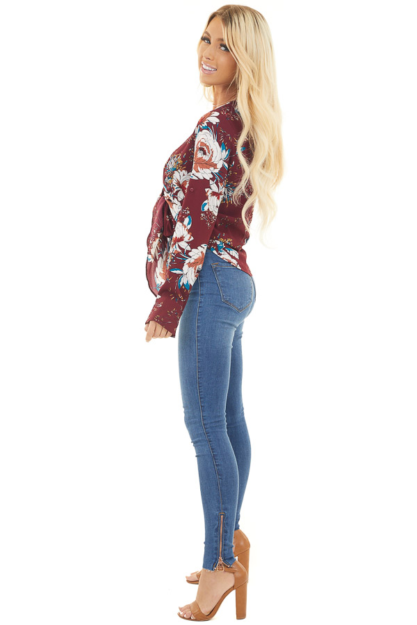 Burgundy Floral Print High Low Top with Front Self Tie