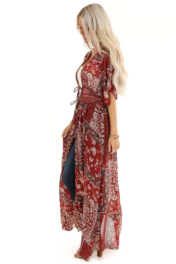 Maroon Paisley Print Duster Length Kimono with Front Tie side full body