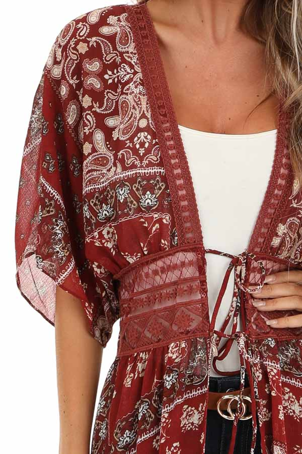 Maroon Paisley Print Duster Length Kimono with Front Tie detail