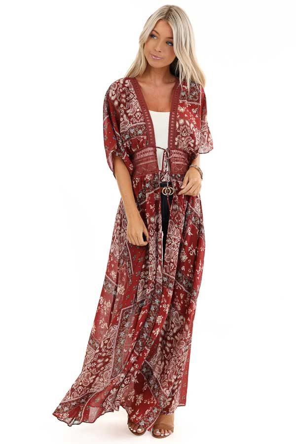 Maroon Paisley Print Duster Length Kimono with Front Tie front full body