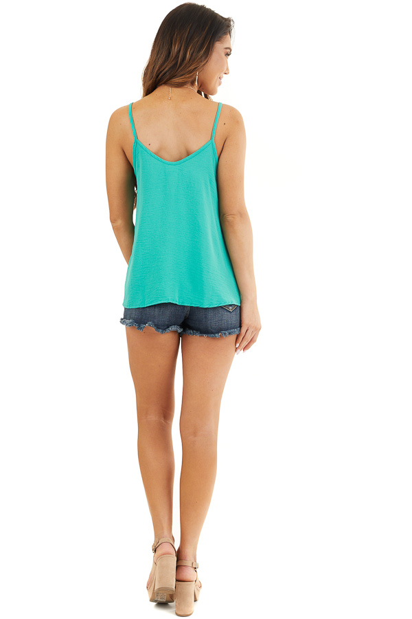 Teal V Neck Spaghetti Strap Tank with Button Up Front Detail back full body
