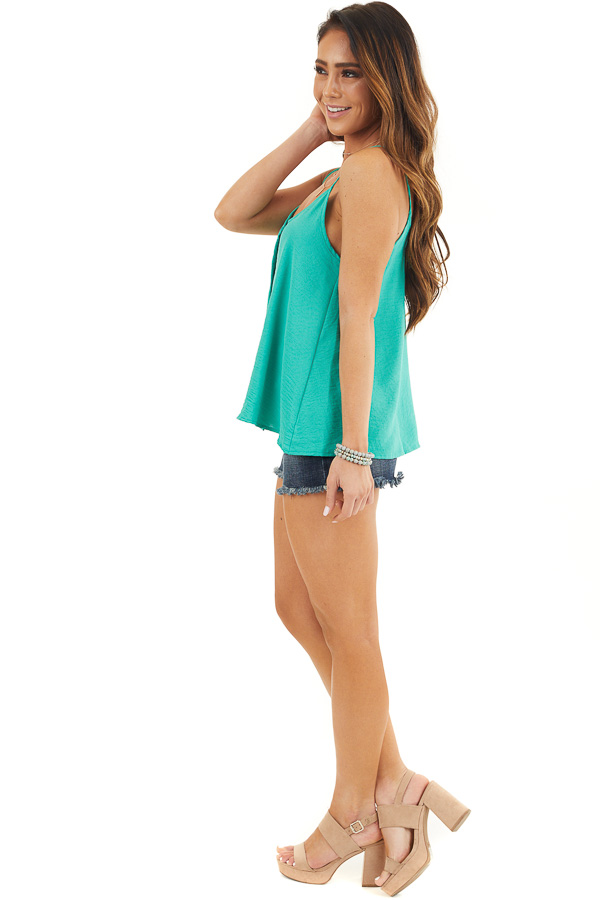 Teal V Neck Spaghetti Strap Tank with Button Up Front Detail side full body