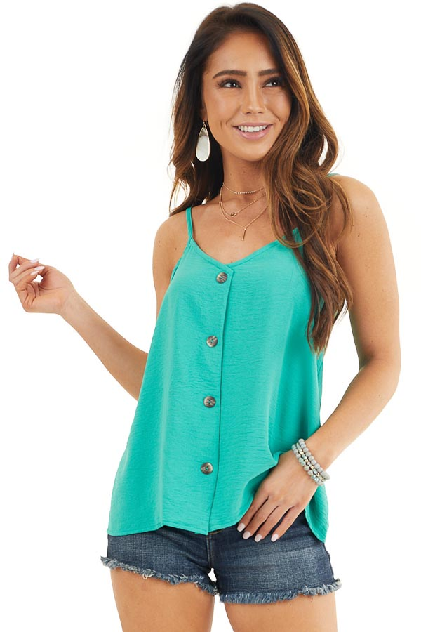 Teal V Neck Spaghetti Strap Tank with Button Up Front Detail front close up