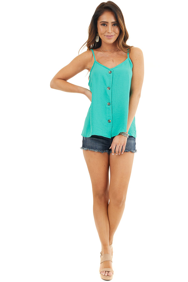 Teal V Neck Spaghetti Strap Tank with Button Up Front Detail front full body