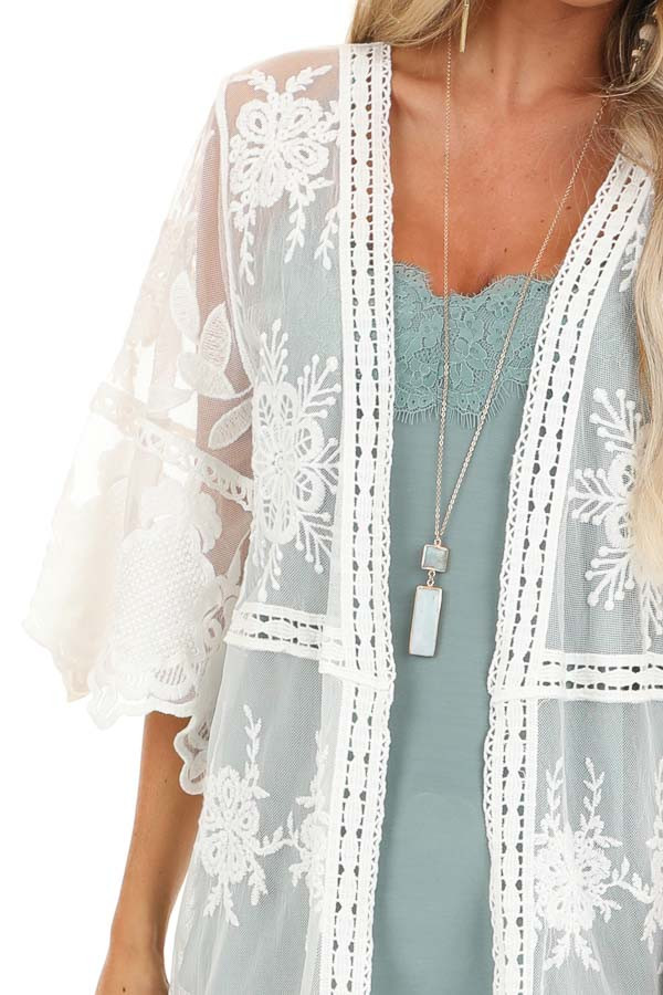 Pearl White Long Sheer Floral Lace Kimono with Open Front detail
