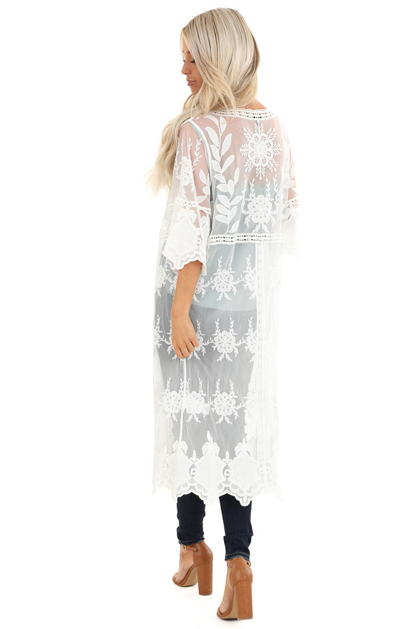 Pearl White Long Sheer Floral Lace Kimono with Open Front back full body