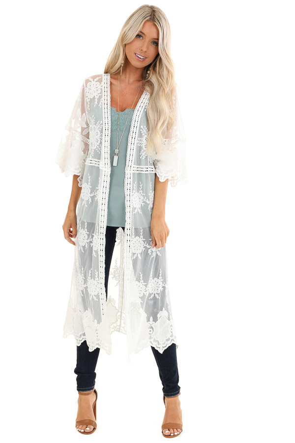 Pearl White Long Sheer Floral Lace Kimono with Open Front front full body