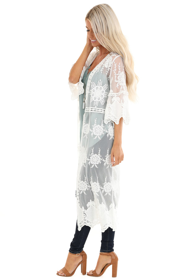 Pearl White Long Sheer Floral Lace Kimono with Open Front side full body