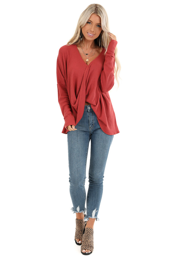 Rust Waffle Knit Long Sleeve Top with Loose Front Twist front full body