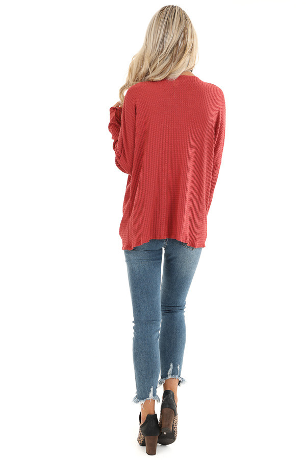 Rust Waffle Knit Long Sleeve Top with Loose Front Twist back full body