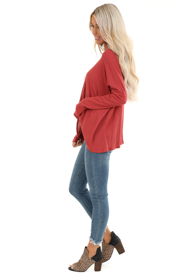 Rust Waffle Knit Long Sleeve Top with Loose Front Twist side full body