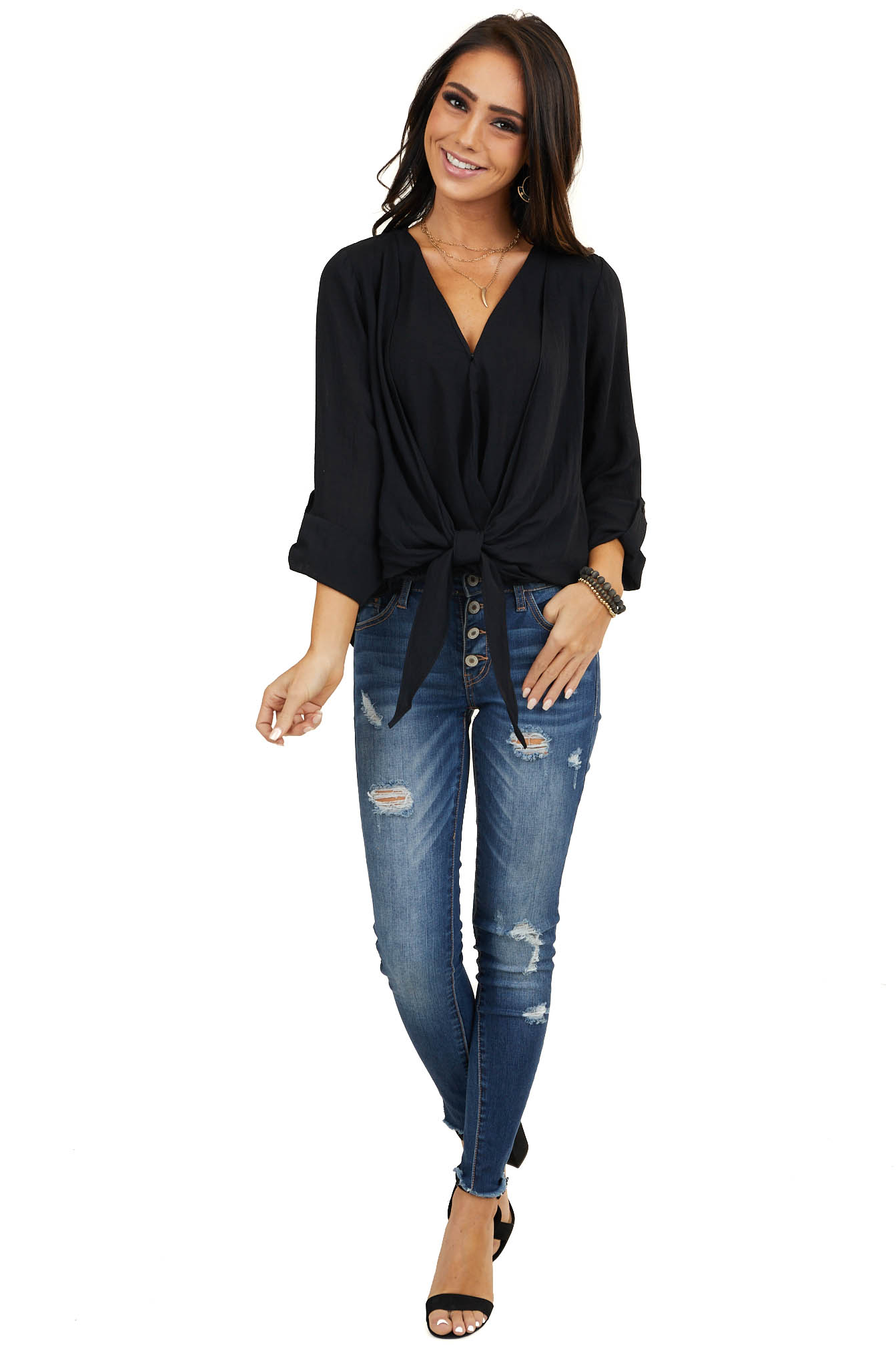 Onyx Black Surplice Top with Front Tie and Button Closure
