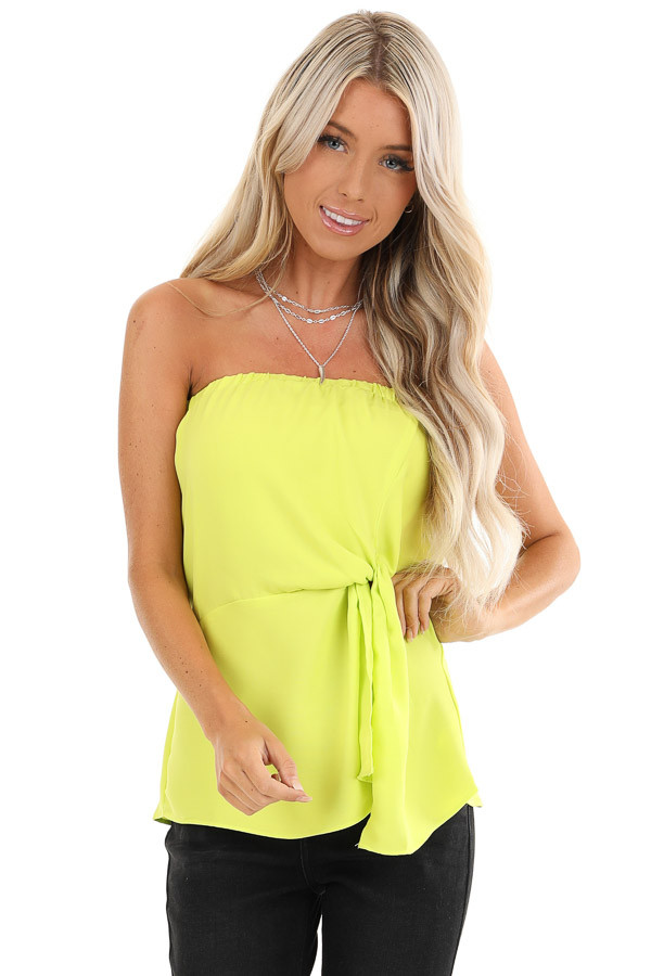 Lime Green Strapless Tube Top with Front Twist Detail front close up