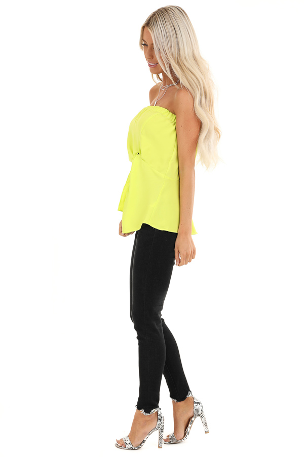 Lime Green Strapless Tube Top with Front Twist Detail side full body
