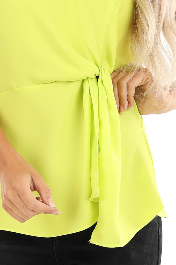 Lime Green Strapless Tube Top with Front Twist Detail detail