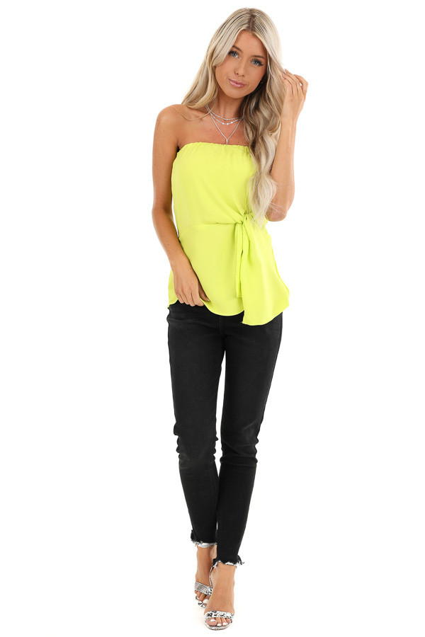 Lime Green Strapless Tube Top with Front Twist Detail front full body