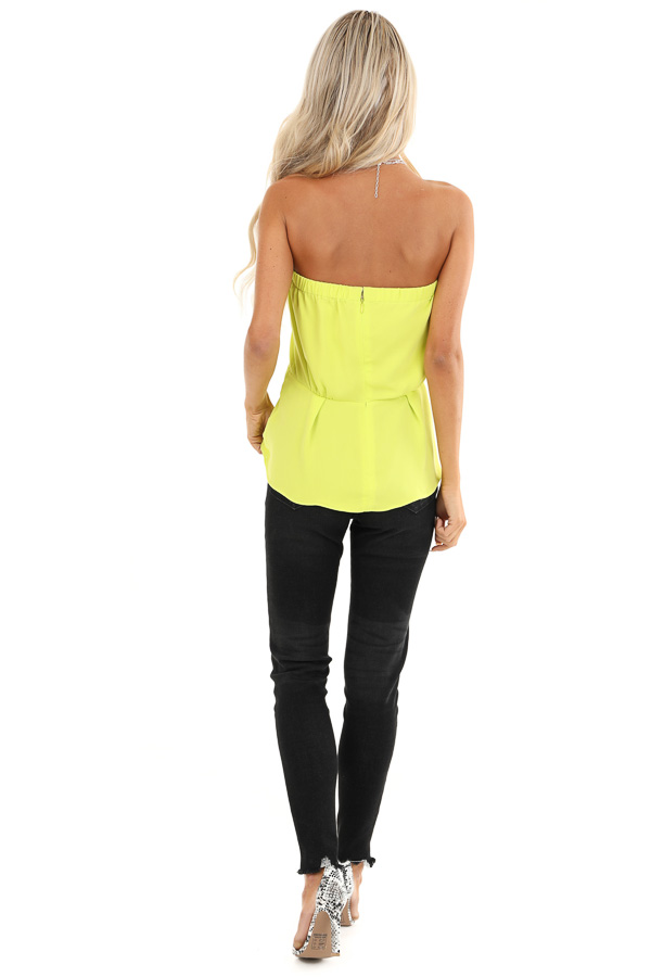 Lime Green Strapless Tube Top with Front Twist Detail back full body