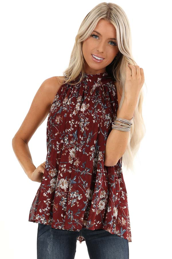 Burgundy Floral Print Sleeveless Pleated Halter Top with Tie front close up