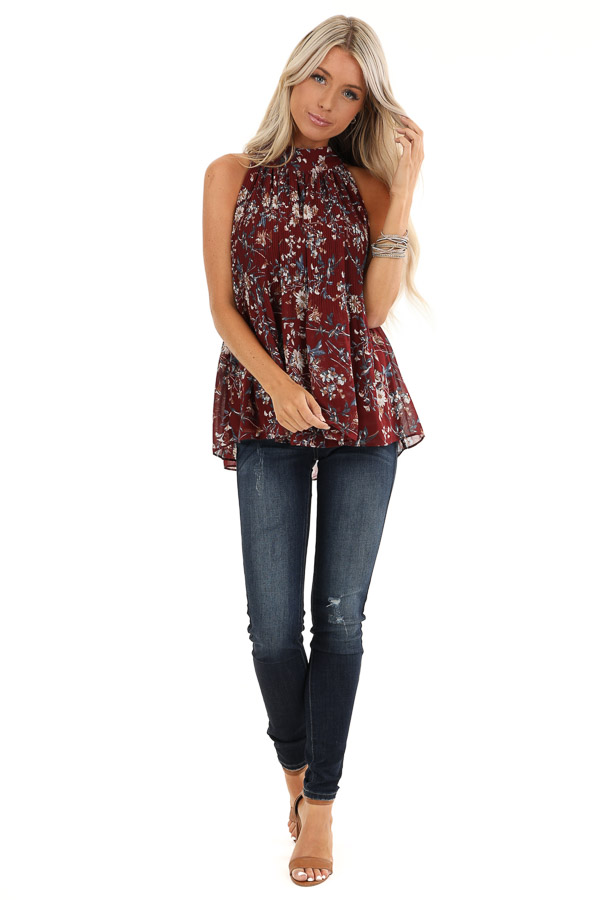 Burgundy Floral Print Sleeveless Pleated Halter Top with Tie front full body