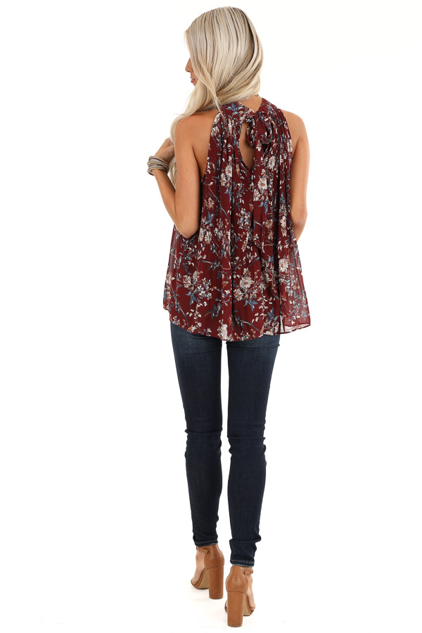 Burgundy Floral Print Sleeveless Pleated Halter Top with Tie back full body