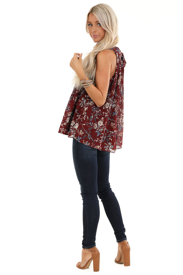 Burgundy Floral Print Sleeveless Pleated Halter Top with Tie side full body