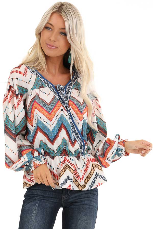 Ivory Multicolor Tribal Print Long Sleeve Surplice Top front close up