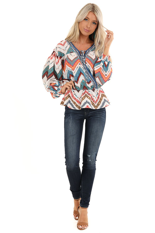 Ivory Multicolor Tribal Print Long Sleeve Surplice Top front full body