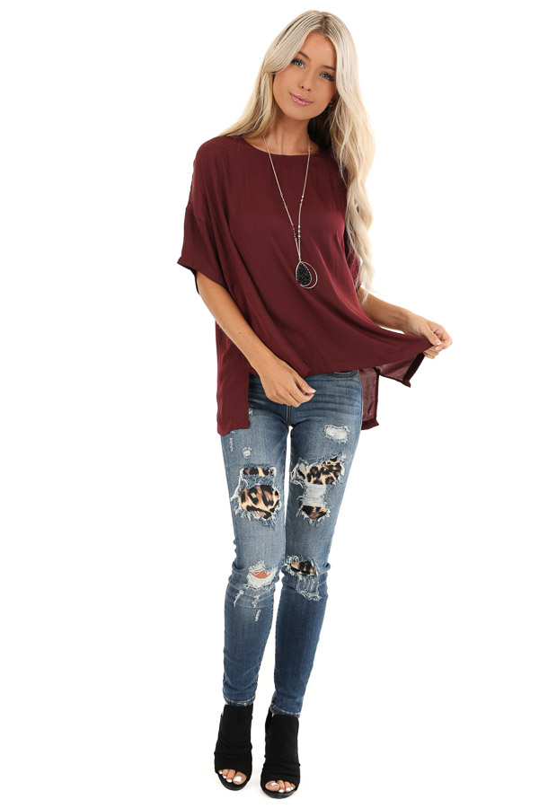 Burgundy Top with Short Drop Shoulder Sleeves and Side Slits front full body