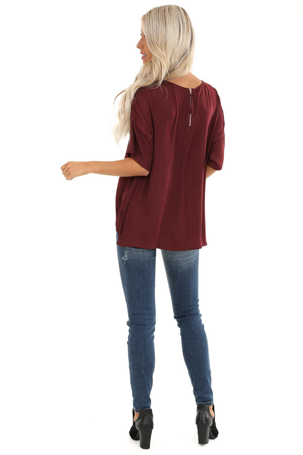 Burgundy Top with Short Drop Shoulder Sleeves and Side Slits back full body